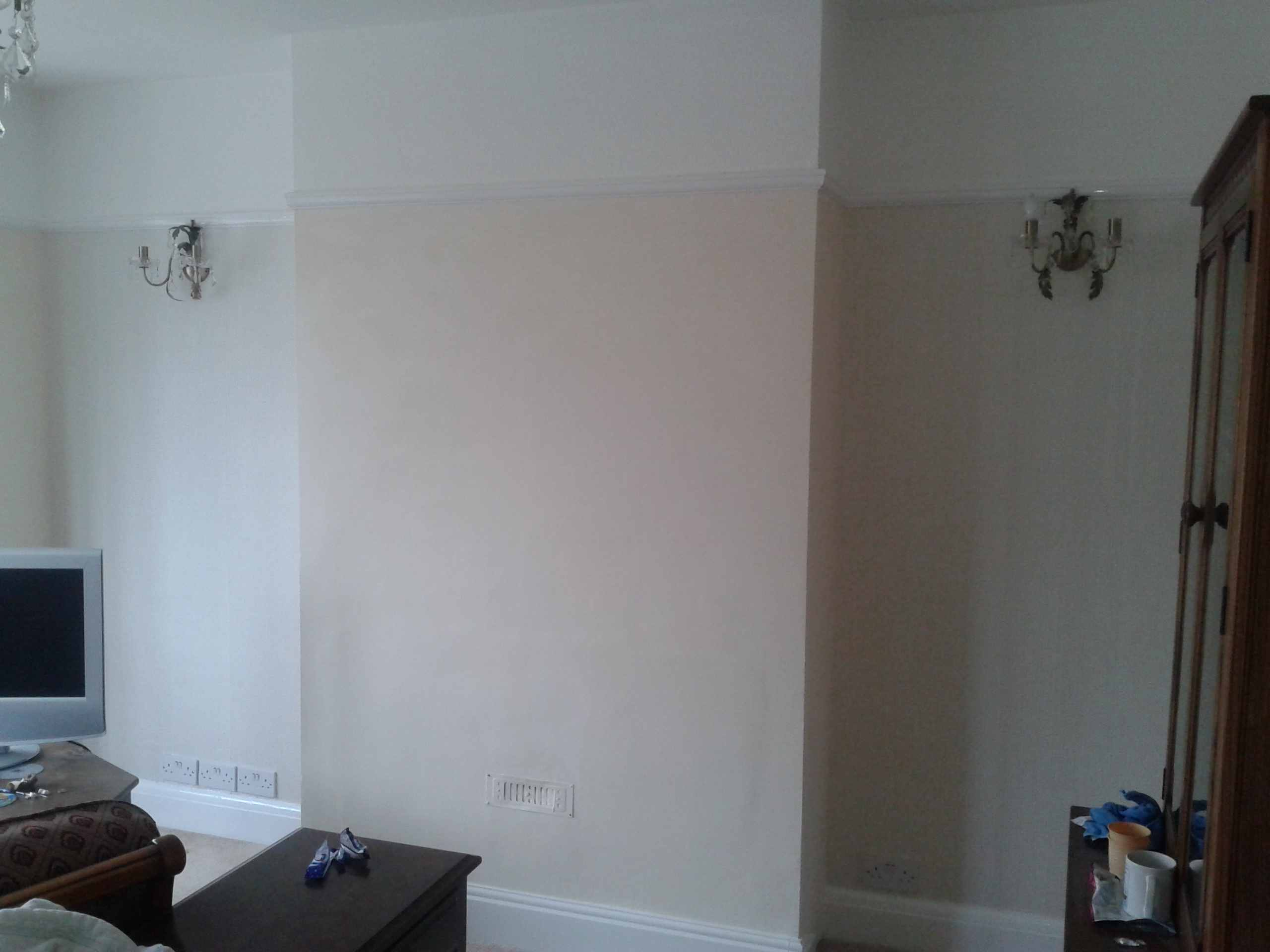 Wallpaper and painted feature wall in Weymouth